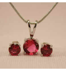 Klassisk smykkesæt med krystal, rød