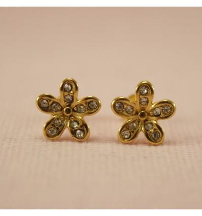 Blomster ørestikkere, guldfarve