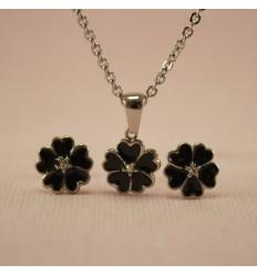 Blomster smykkesæt, sort