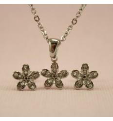 Blomster smykkesæt, sølvfarve