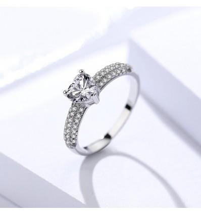 925 Ring med klart hjerte