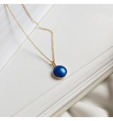 925 Smukke blå halskæde - Forgyldt