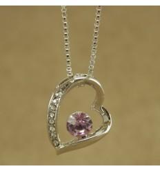 Halskæde med skævt hjerte og lilla krystal
