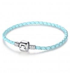 Læderarmbånd. lys blå
