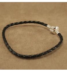 Læderarmbånd. sort