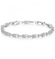 Smukt krystal armbånd - Sølv