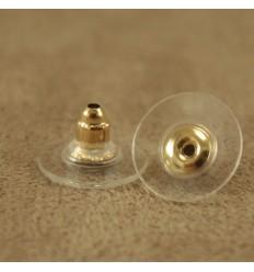 Guld gummi låse med bagstykke, 2 stk