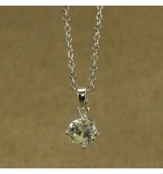 Klassisk forsølvet halskæde med krystal