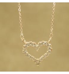 Forgyldt hjerte med klare krystaller