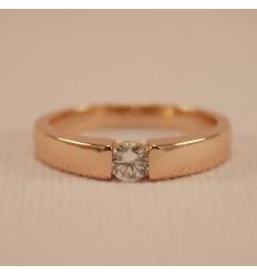 Klassisk ring med CZ, rosaguld