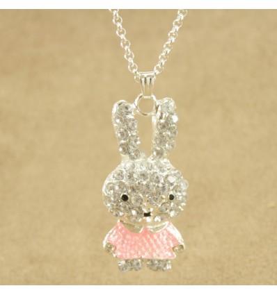 Krystal kanin med pink kjole
