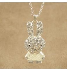 Krystal kanin med hvid kjole