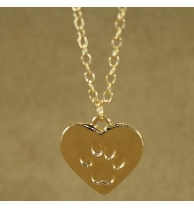 Guldfarvet hjerte med pote